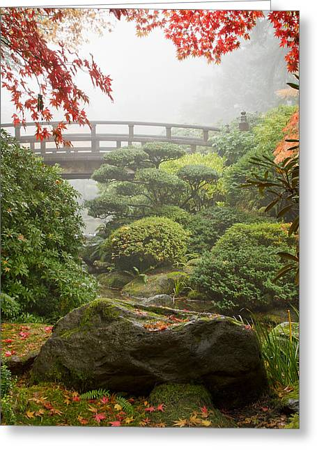 Greeting Card featuring the photograph Rock And Bridge At Japanese Garden by JPLDesigns