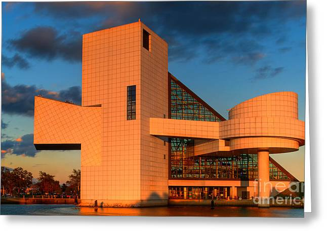 Rock And Roll Hall Of Fame Greeting Card by Jerry Fornarotto