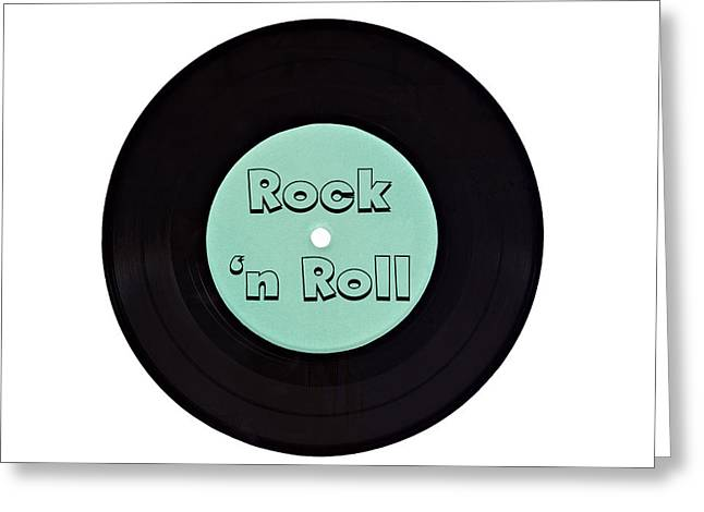 Vinyl Record Rock N Roll Greeting Card by Vizual Studio