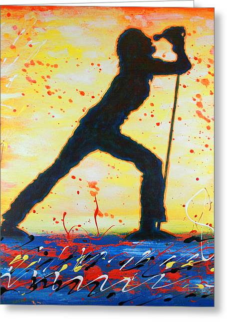 Greeting Card featuring the painting Rock Band Singer Abstract Art by Bob Baker