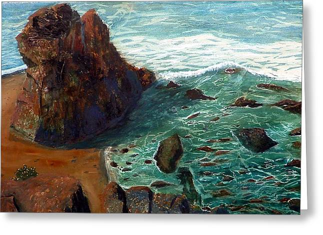 Rock Beach And Sea Greeting Card