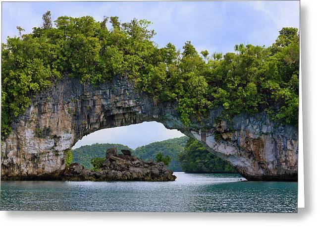 Rock Bridge, Rock Islands, Palau Greeting Card by Keren Su