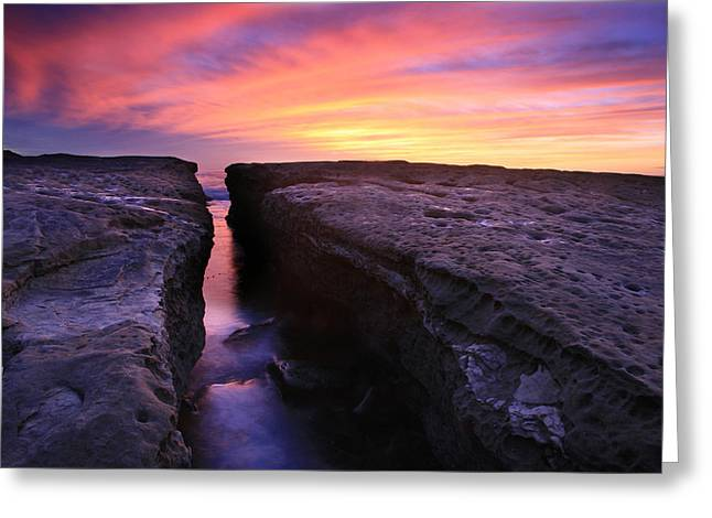 Rock Channel Sunset Greeting Card by Scott Cunningham