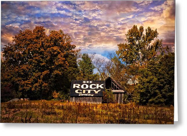 Rock City Barn Greeting Card by Debra and Dave Vanderlaan