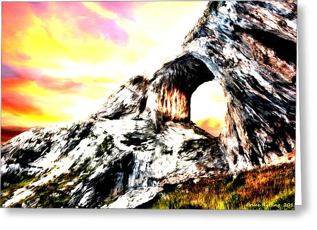 Greeting Card featuring the painting Rock Cliff Sunset by Bruce Nutting