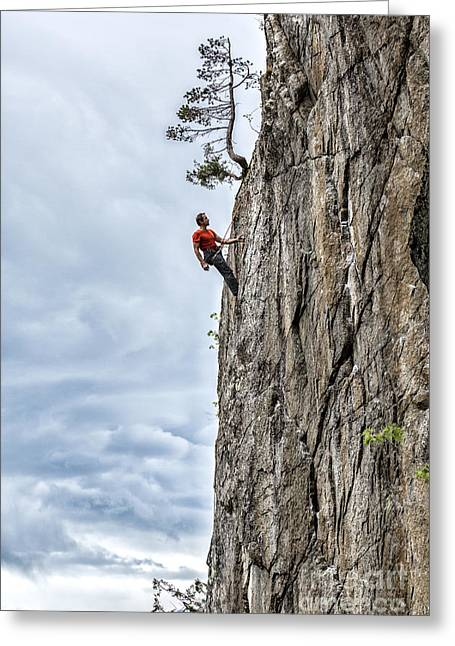 Greeting Card featuring the photograph Rock Climber by Carsten Reisinger