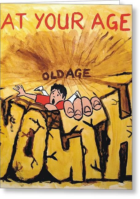 Rock Climbing Cartoon Greeting Card