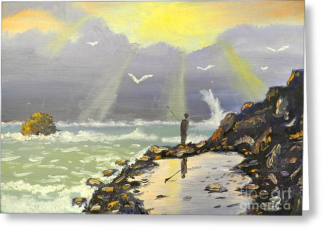 Greeting Card featuring the painting Rock Fishing At Wombarra  by Pamela  Meredith