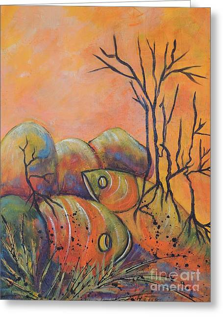 Greeting Card featuring the painting Rock Fishing by Lyn Olsen