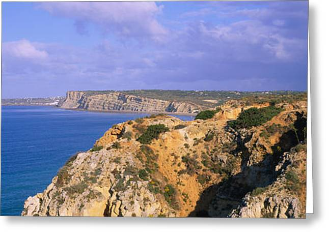 Rock Formations At A Seaside, Algarve Greeting Card by Panoramic Images