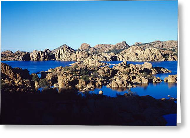 Rock Formations At Lake, Granite Dells Greeting Card by Panoramic Images