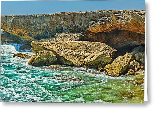 Rock Formations At The Coast, Aruba Greeting Card