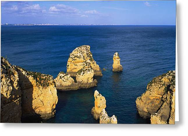Rock Formations In The Sea, Algarve Greeting Card by Panoramic Images