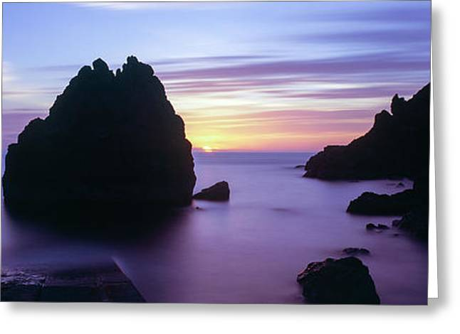 Rock Formations In The Sea At Sunset Greeting Card
