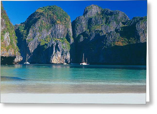 Rock Formations In The Sea, Phi Phi Greeting Card