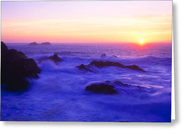 Rock Formations On Coast At Sunset Greeting Card by Panoramic Images