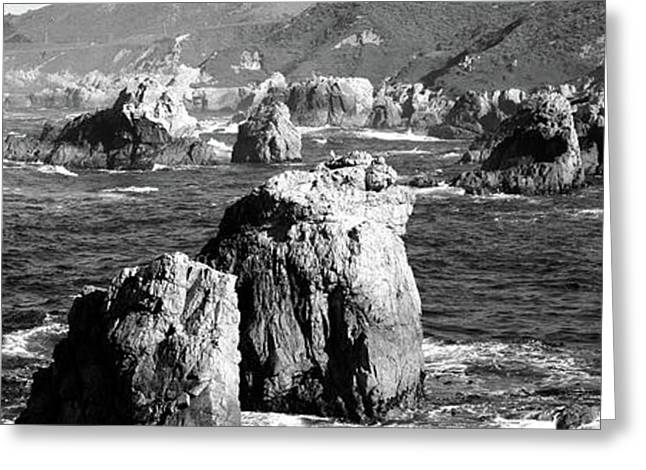 Rock Formations On The Beach, Big Sur Greeting Card by Panoramic Images