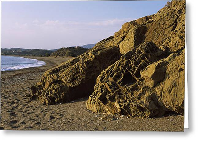 Rock Formations On The Beach, Chios Greeting Card