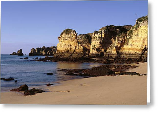Rock Formations On The Coast, Algarve Greeting Card by Panoramic Images