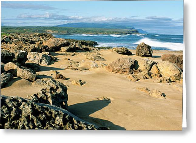 Rock Formations On The Coast, Molokai Greeting Card by Panoramic Images
