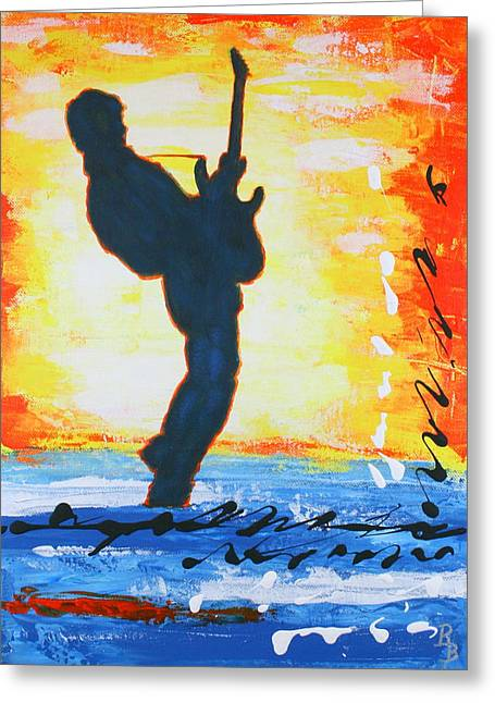 Rock Guitar Abstract Painting Greeting Card
