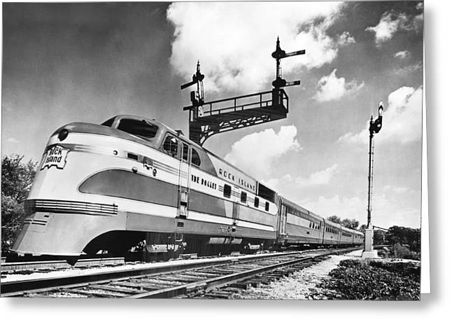 Rock Island Line Rocket Train Greeting Card by Underwood Archives