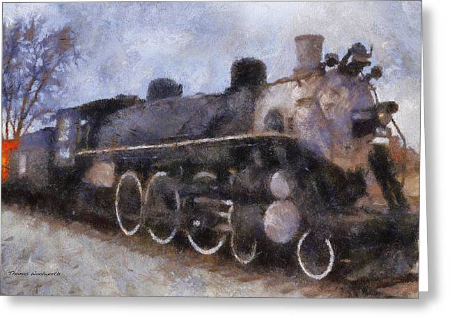 Rock Island Locomotive Engine Photo Art Greeting Card by Thomas Woolworth