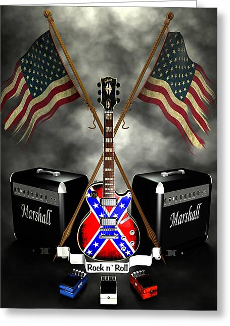 Rock N Roll Crest- Usa Greeting Card by Frederico Borges