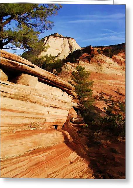 Rock Of Sandstone Sky Of Blue At Zion National Park Greeting Card by Elaine Plesser