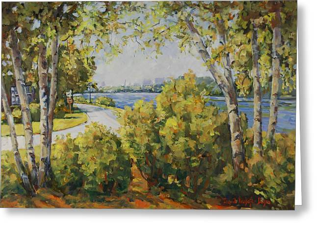 Rock River Bike Path Greeting Card by Alexandra Maria Ethlyn Cheshire