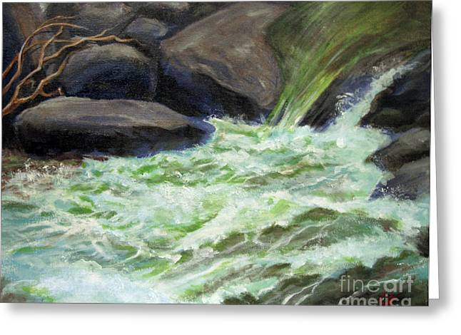 Greeting Card featuring the painting Rock Splash by Carol Hart