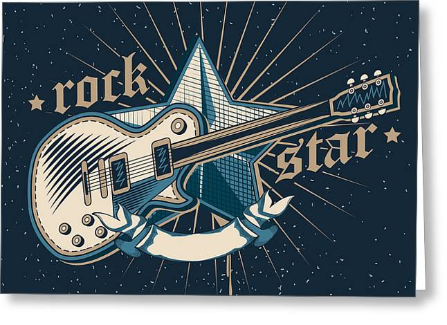 Rock Star Emblem Greeting Card