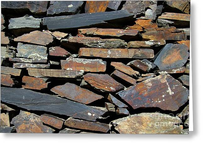 Greeting Card featuring the photograph Rock Wall Of Slate by Bill Gabbert