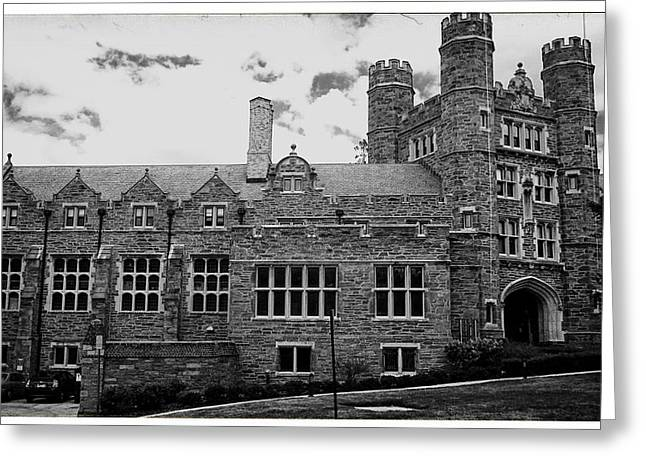 Rockefeller Hall - Bryn Mawr In Black And White Greeting Card