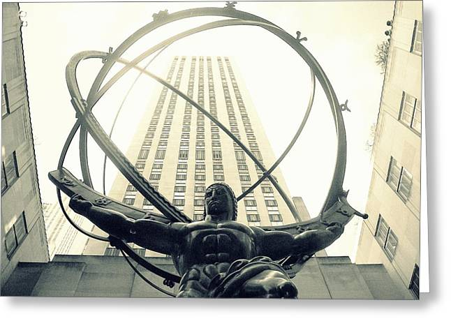 'rockefeller Center And Atlas' Greeting Card