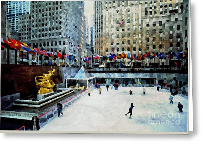 Rockefeller Center Ice Skaters Nyc Greeting Card