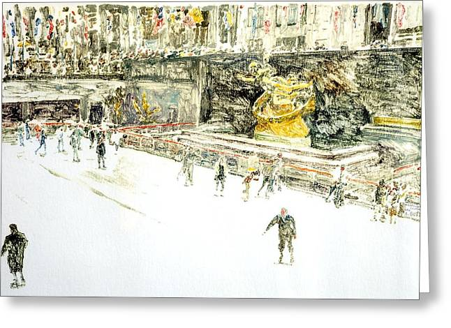 Rockefeller Center Skaters Greeting Card by Anthony Butera
