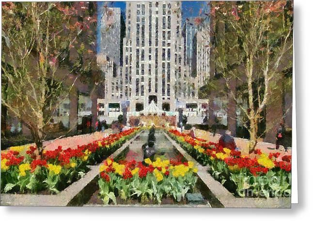 Rockefeller Plaza Greeting Card by George Atsametakis