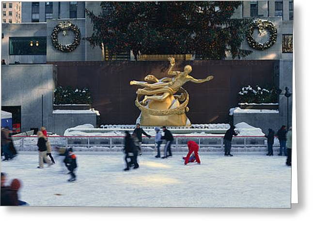 Rockefeller Square And Ice Skating Rink Greeting Card by Panoramic Images