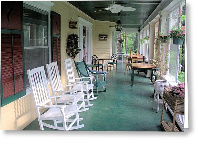 Rockers On The Porch Greeting Card by Gordon Elwell