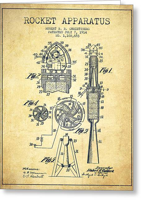 Rocket Apparatus Patent From 1914-vintage Greeting Card