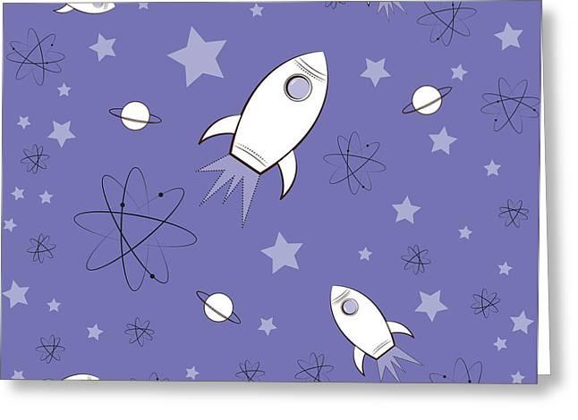 Rocket Science Purple Greeting Card by Amy Kirkpatrick