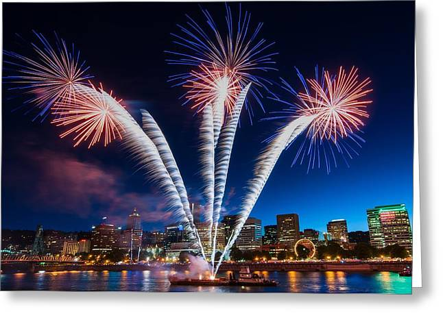 Rockets Red Glare Greeting Card by Brian Bonham