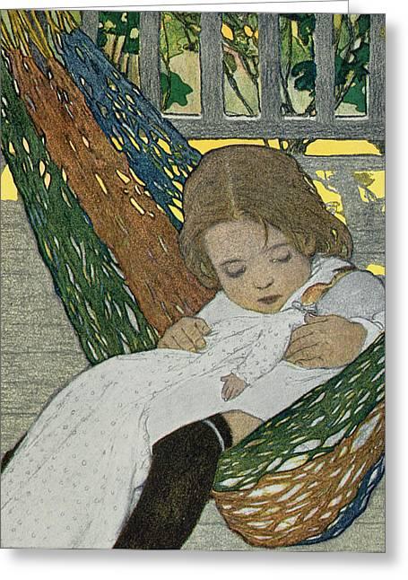 Rocking Baby Doll To Sleep Greeting Card by Jessie Willcox Smith