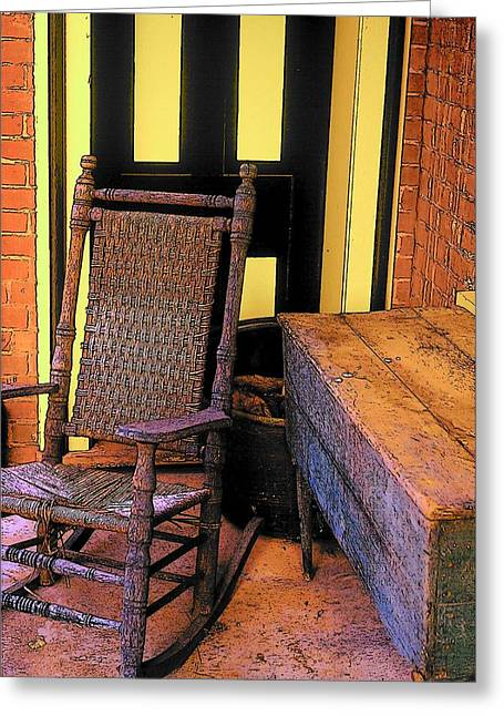 Rocking Chair And Woodbox Greeting Card by Rodney Lee Williams
