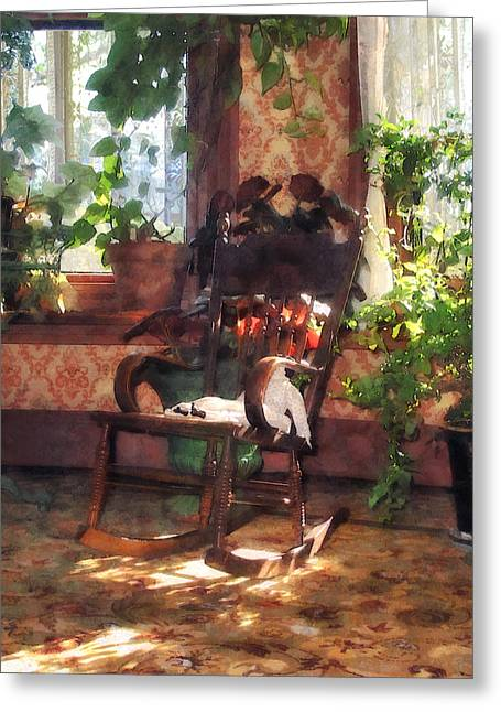 Rocking Chair In Victorian Parlor Greeting Card by Susan Savad