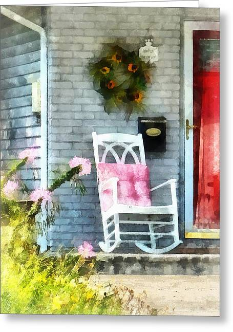 Rocking Chair With Pink Pillow Greeting Card
