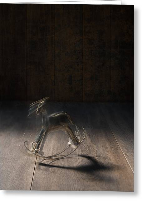 Rocking Horse With Blur Greeting Card