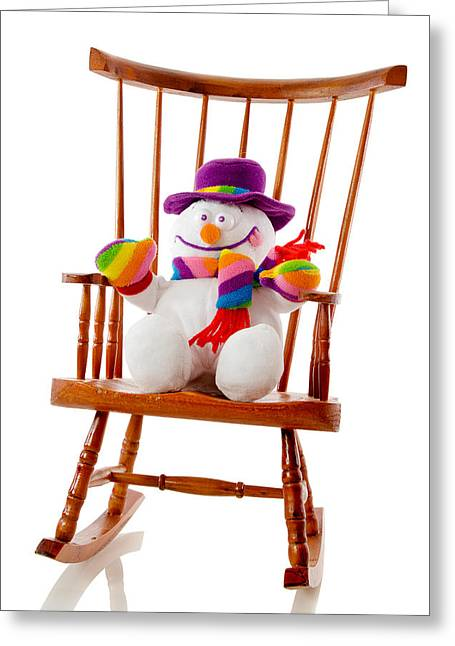 Greeting Card featuring the photograph Happy Snowman Sitting In A Rocking Chair  by Vizual Studio