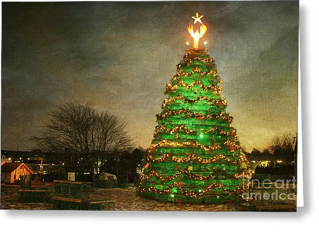 Rockland Lobster Trap Christmas Tree Greeting Card